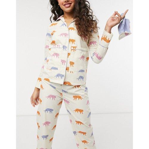 Ensemble de pyjama avec chemise à manches longues et bas à imprimé tigre et masque de sommeil - daisy street - Modalova