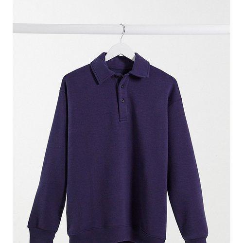 Sweat-shirt polo oversize avec col boutonné - Bleu - daisy street - Modalova