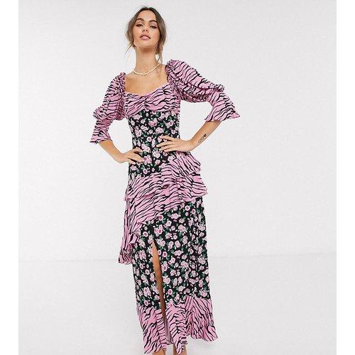 Robe longue style milkmaid à imprimé animal et fleurs grunge - Dark Pink - Modalova