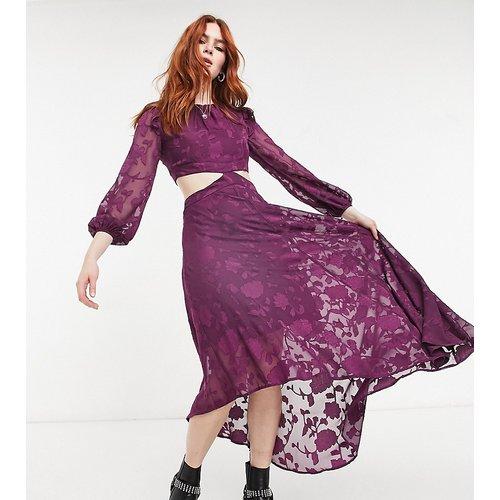Robe rétro mi-longue effet dévoré à manches transparentes - Rose texturé - Dark Pink - Modalova