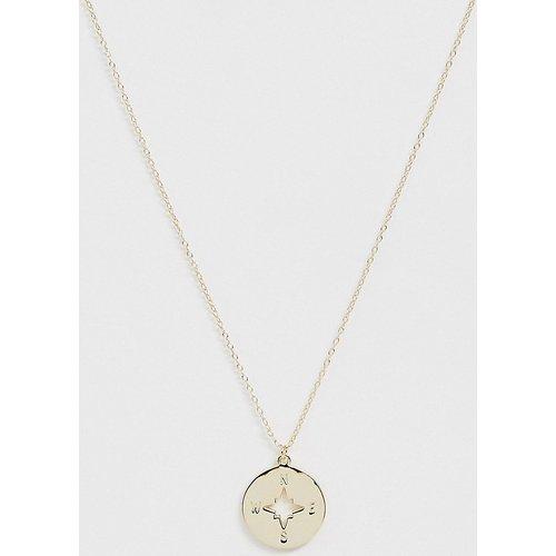 Collier avec pendentif boussole en argent massif plaqué or - DesignB London - Modalova