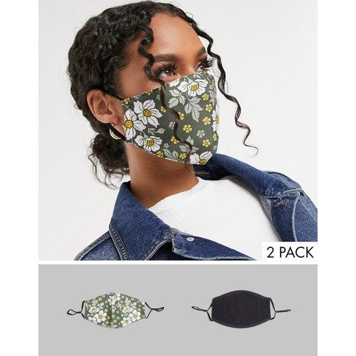 - Lot de2 masques en tissu avec sangles ajustables - Noir et imprimé fleuri - DesignB London - Modalova