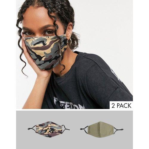 - Lot de2masques en tissu avec sangles ajustables - Camouflage et kaki - DesignB London - Modalova