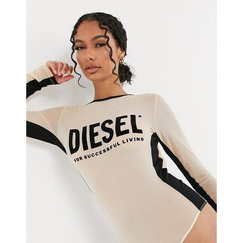 Body avec empiècement en tulle et logo - Beige - Diesel - Modalova