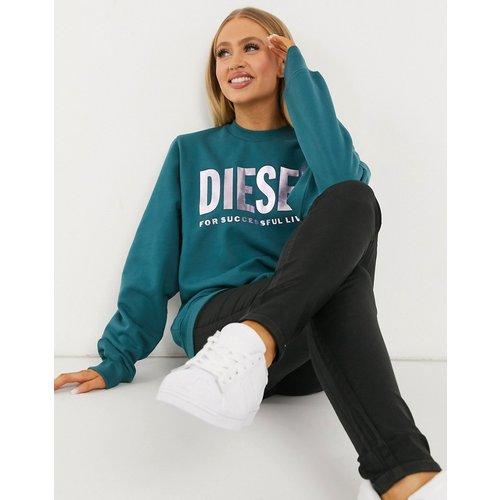 Pull ras de cou avec logo métallisé - sarcelle - Diesel - Modalova