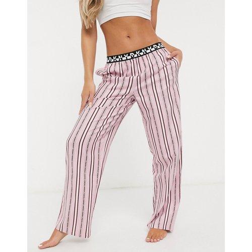 Bas de pyjama à rayures et logo avec ceinture griffée - DKNY - Modalova