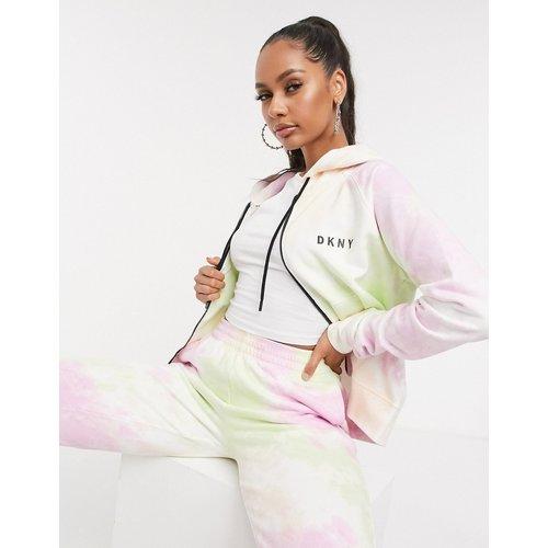 Hoodie style sport à effet tie-dye et fermeture éclair - Multicolore - DKNY - Modalova