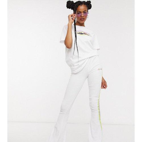 Pantalon d'ensemble évasé en velours coupe skinny avec bandes arc-en-ciel - Ellesse - Modalova