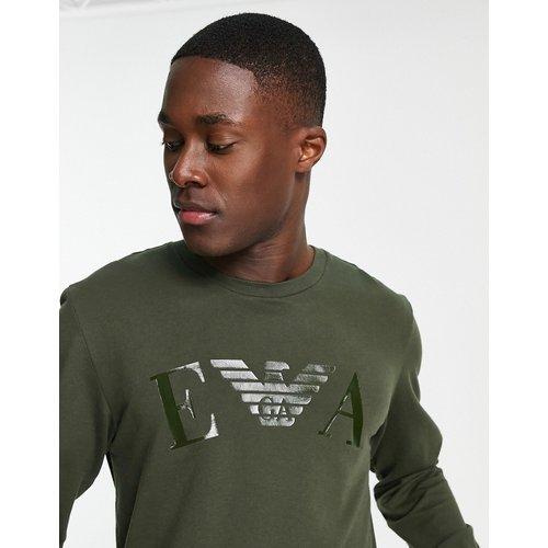 Emporio Armani - Bodywear - Sweat-shirt en tissu éponge à logo ton sur ton - Kaki - Emporio Armani Bodywear - Modalova