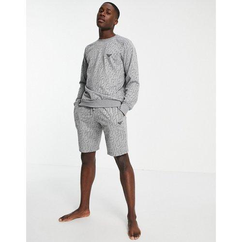 Emporio Armani - Bodywear - Sweat-shirt en tissu éponge avec logo sur l'ensemble - Emporio Armani Bodywear - Modalova