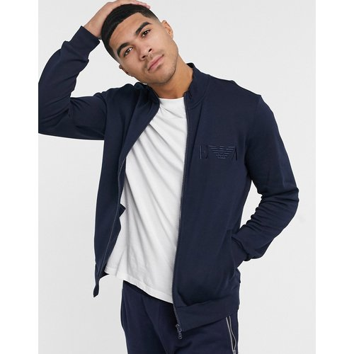 Sweat loungewear zippé à col montant et broderie en EVA - Bleu marine - Emporio Armani - Modalova