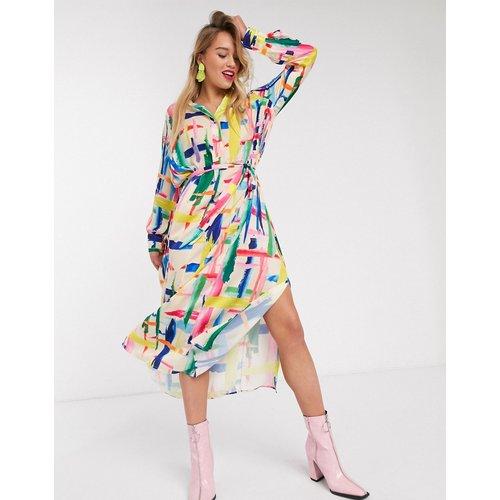 Valila - Robe chemisemi-longue à imprimé façon croquis - cassé - Essentiel Antwerp - Modalova