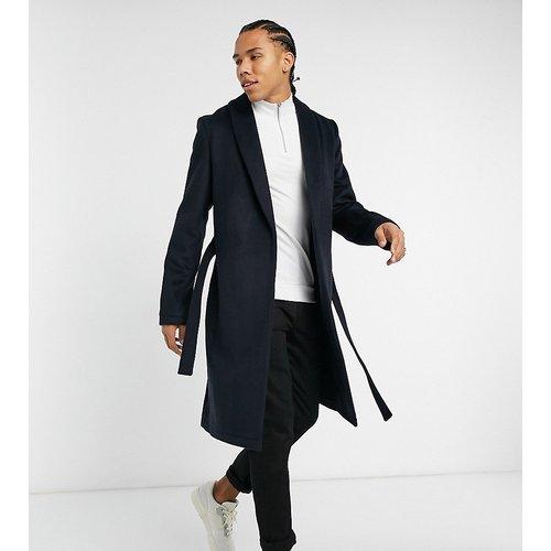 Exclusivité - - Tall - Manteau en laine mélangée avec ceinture - Bleu marine - ASOS DESIGN - Modalova