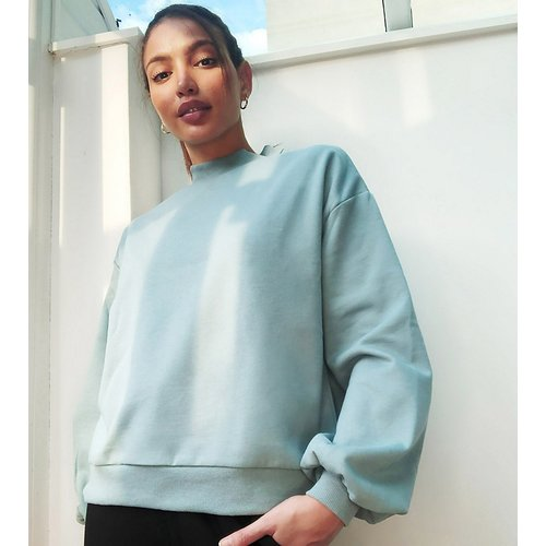 Exclusivité ASOS DESIGN Tall - Sweat-shirt confort d'ensemble coupe oversize avec col large côtelé -  cendré - ASOS Tall - Modalova