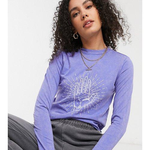 Exclusivité - - T-shirt court avec motif main - délavé - Noisy May Tall - Modalova