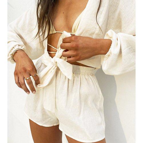 Exclusivité - x Natalya Wright - Short de plage taille haute (pièce d'ensemble) - Crème - South Beach - Modalova