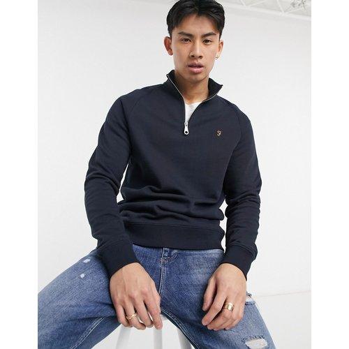 Jim - Sweat-shirt en coton biologique avec demi-fermeture éclair - Bleu - Farah - Modalova