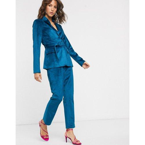 Pantalon habillé en velours - sarcelle - Fashion Union - Modalova