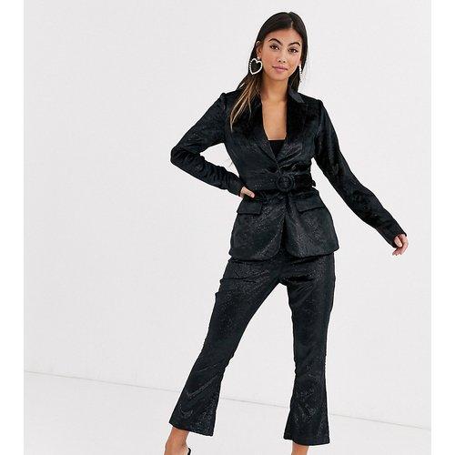 Pantalon ajusté en velours pailleté - Fashion Union Petite - Modalova