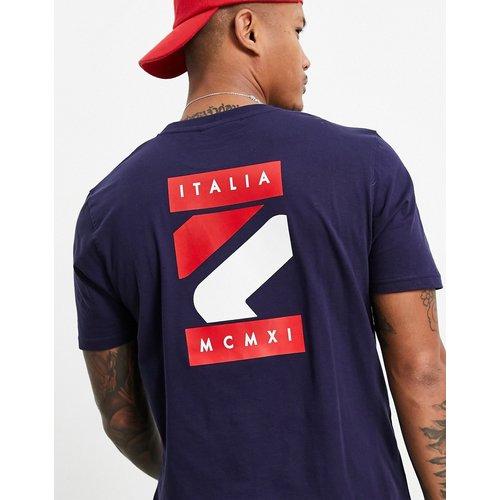 Quartz - T-shirt avec imprimé logo encadré au dos - Bleu - Fila - Modalova