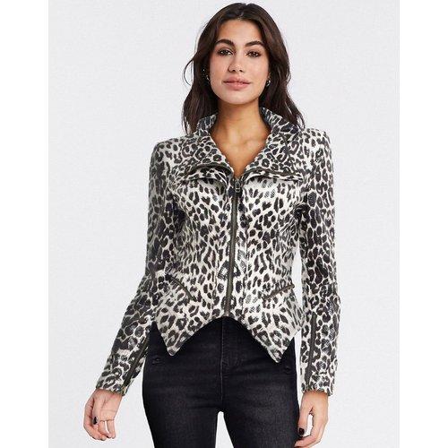 Veste en cuir imprimé léopard avec épaules carrées - Forever Unique - Modalova