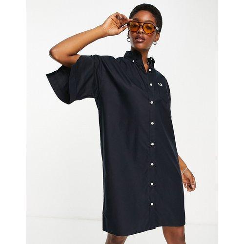 Robe chemise coupe carrée à manches fendues - Bleu - Fred Perry - Modalova