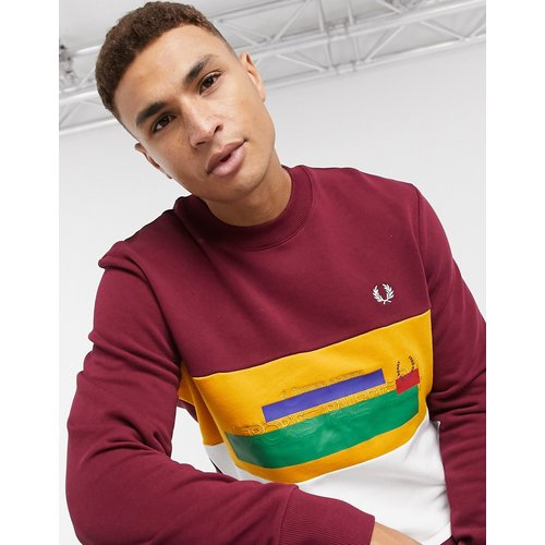 Sweat-shirt color block effet dégradé - Bordeaux - Fred Perry - Modalova