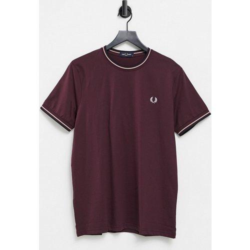 T-shirt à liseré double - Bordeaux - Fred Perry - Modalova