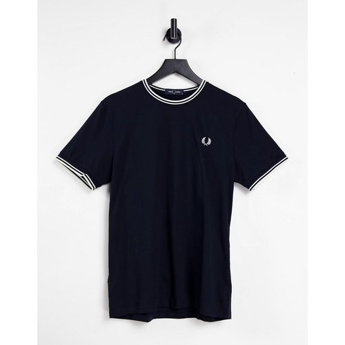 T-shirt avec bordures à double rayure - Bleu - Fred Perry - Modalova