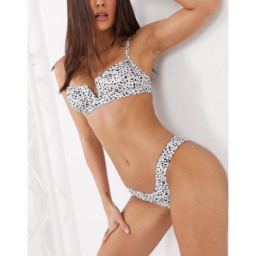 Bas de bikini échancré imprimé léopard - Blanc - Free Society - Modalova