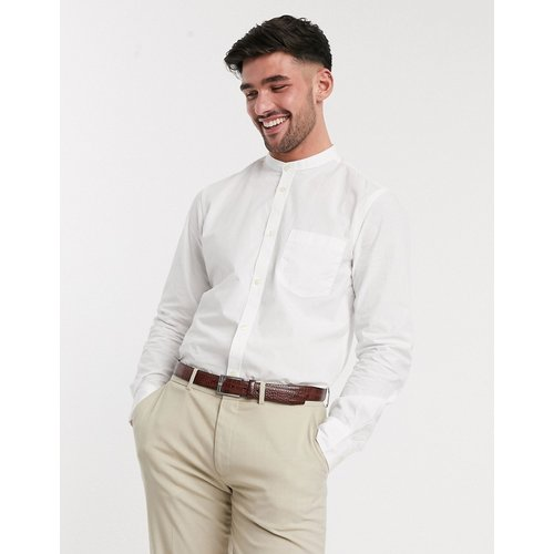 Chemise unie coupe slim à col grand-père - French Connection - Modalova
