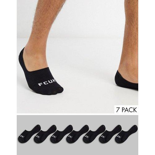 Lot de 7 paires de chaussettes invisibles - Noir - French Connection - Modalova