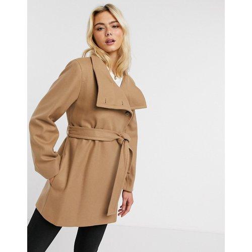 Manteau en laine à col cheminée avec ceinture - Fauve - French Connection - Modalova