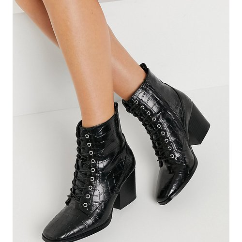 Glamorous - Bottines larges à lacets, talon et bout carré - croco - Glamorous Wide Fit - Modalova