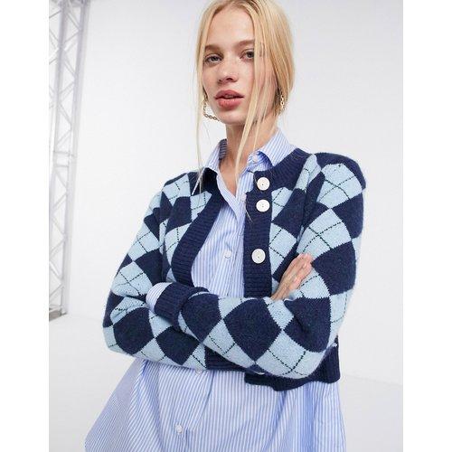 Cardigan court en maille à imprimé losanges - Bleu - Glamorous - Modalova