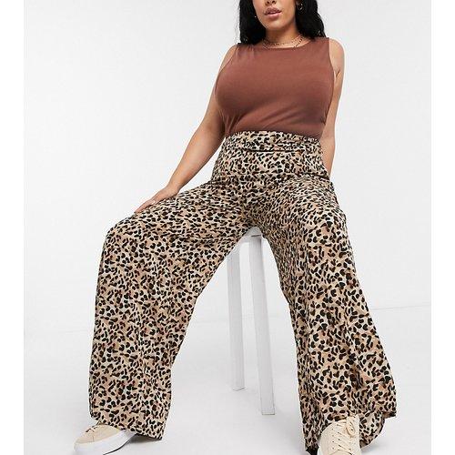 Pantalon large décontracté à imprimé léopard - Glamorous Curve - Modalova