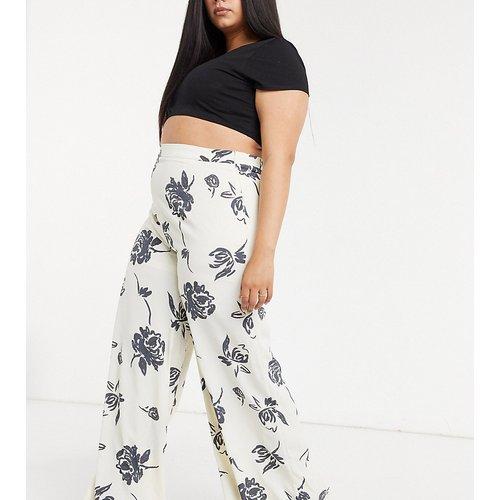Pantalon large d'ensemble à motif floral de couleur vive - Glamorous Curve - Modalova