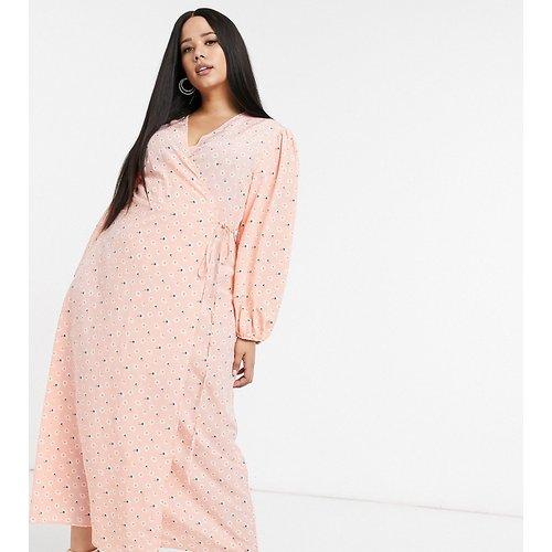- Robe cache-cœurlongue à manches volumineuses et motif petites fleurs vintage - Glamorous Curve - Modalova