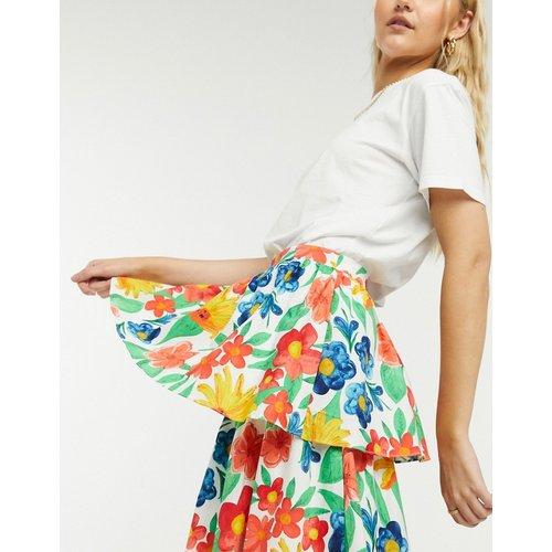 Jupe mi-longue étagée à imprimé floral - Glamorous - Modalova
