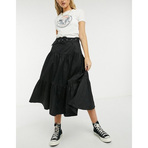 Jupe mi-longue volantée avec ceinture intégrée - Noir - Glamorous - Modalova