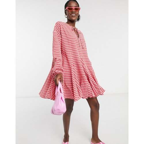 Robe à manches longues avec jupe patineuse et carreaux vichy - Glamorous - Modalova
