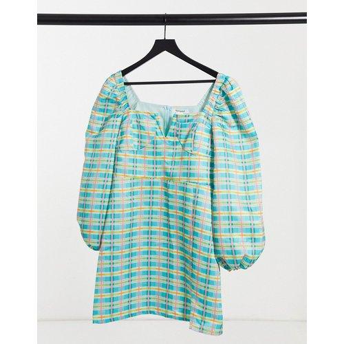 Robe courte à encolure carrée et à manches bouffantes - Carreaux - Glamorous - Modalova