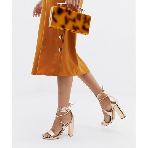 Sandales à talons carrés avec lien à la cheville - Or rose - Glamorous - Modalova