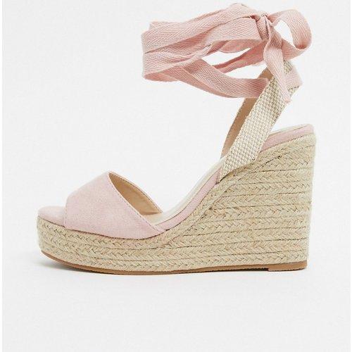 Sandales compensées style espadrilles avec lien à nouer à la cheville - Pêche - Glamorous - Modalova