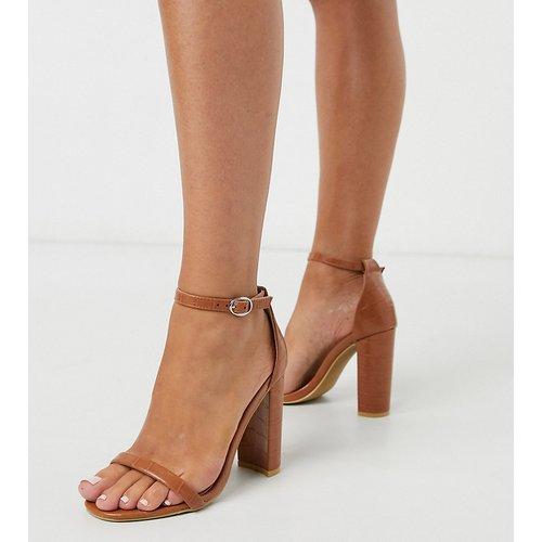 Sandales minimalistes à talons - effet croco - Glamorous Wide Fit - Modalova