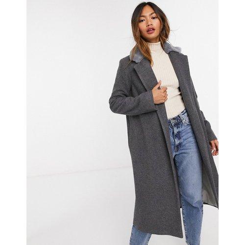 Manteau long en laine mélangée décoré de fausse fourrure - Helene Berman - Modalova