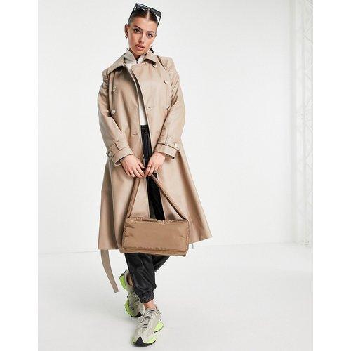 Trench-coat croisé en imitation cuir - Beige - Helene Berman - Modalova