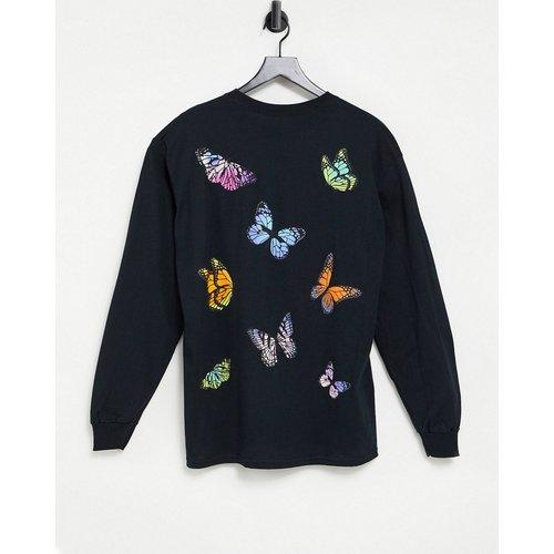 HNR LDN - T-shirt à manches longues avec imprimé papillons au dos - Honour - Modalova