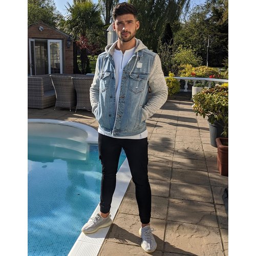 Blouson camionneur en jean avec capuche en jersey - clair - Hollister - Modalova