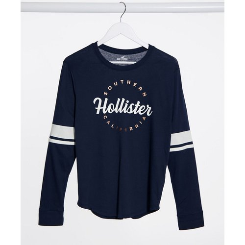 T-shirt à manches longues avec logo sur le devant - Bleu marine - Hollister - Modalova